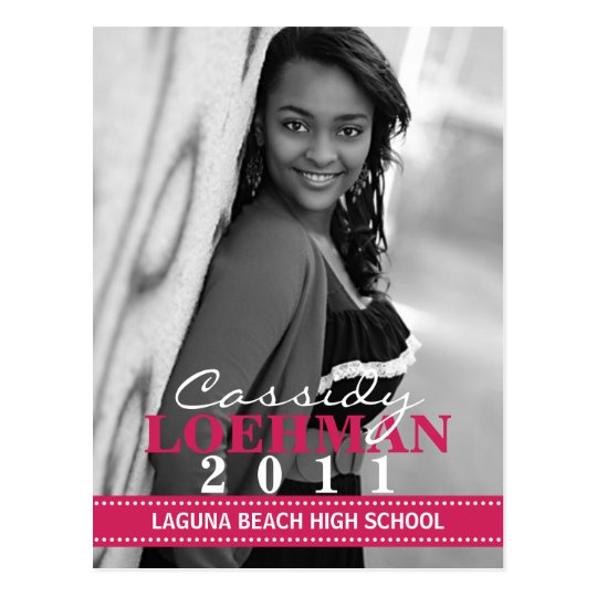 Raspberry Custom Photo Graduation Announcement Postcard