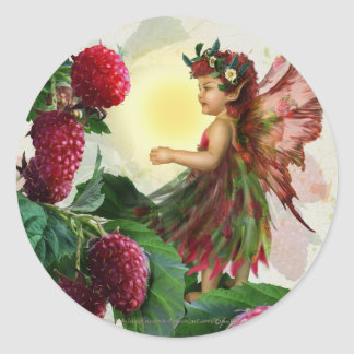 Raspberry Fairy Round Stickers