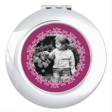 heartlocked Raspberry Fancy Swirls Frame Custom Photo Mirror For Makeup