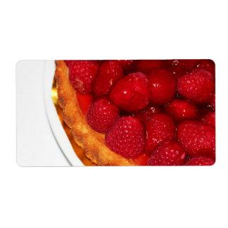 Raspberry flan dessert label