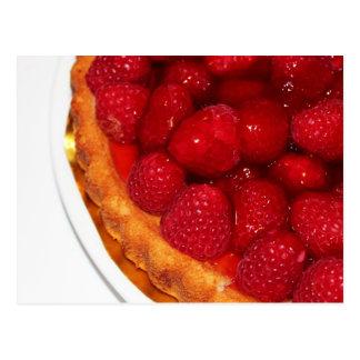 Raspberry flan dessert postcard
