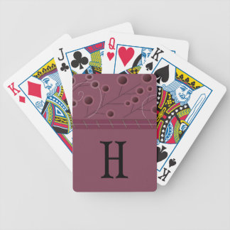 Raspberry Floral Initial Playing Cards