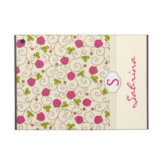 Raspberry Floral Swirls Monogram Folio iPad Mini Cover
