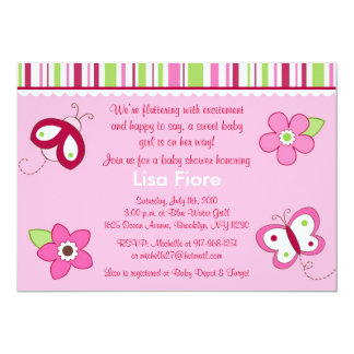 Raspberry Garden Butterfly Baby Shower Invitations