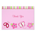 Raspberry Garden Ladybug Flat Thank You Note Cards Personalized Announcement