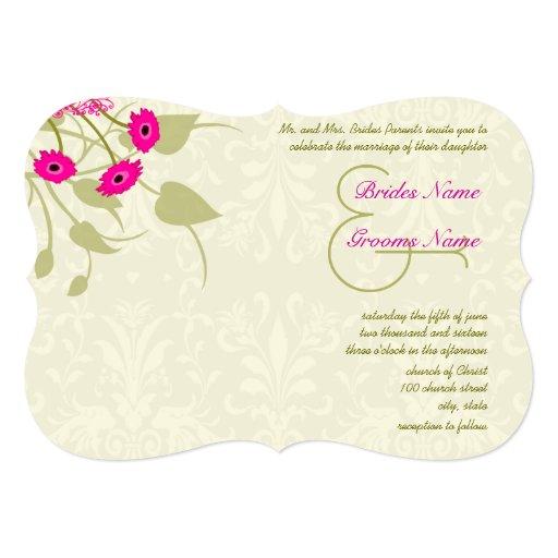 "Raspberry Gerber Damask Wedding Invitations 5"" X 7"" Invitation Card"