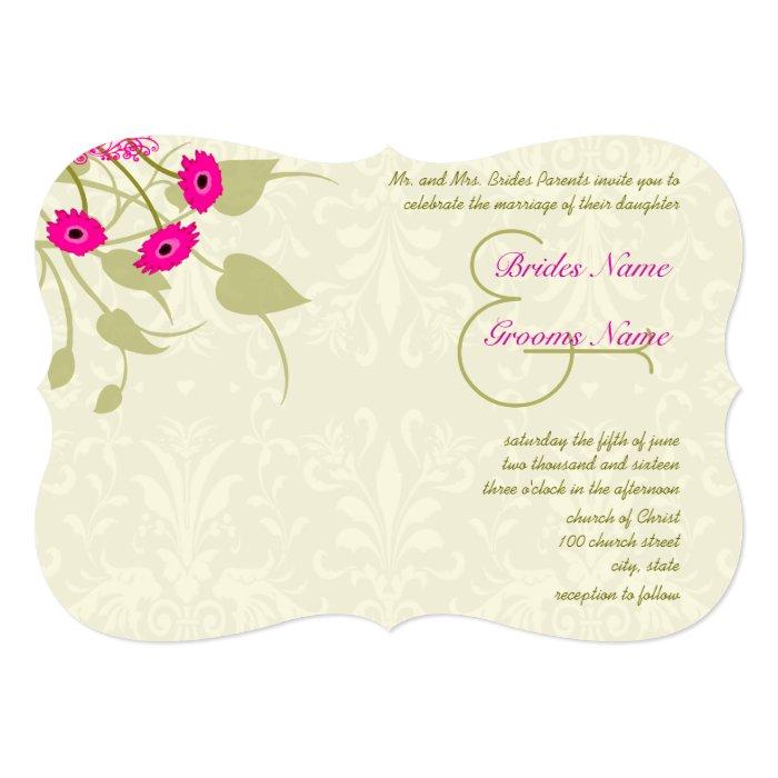 Raspberry Gerber Damask Wedding Invitations