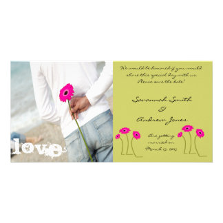Raspberry Gerbers on Lime Save The Date Card