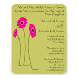 Raspberry Gerbers on Lime Wedding Invitations
