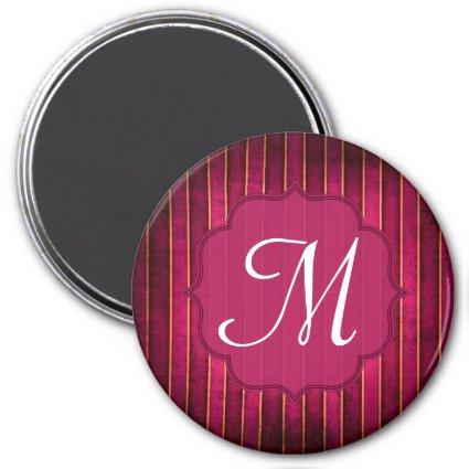 Raspberry Gold Stripe Mod Monogram Initial Magnet