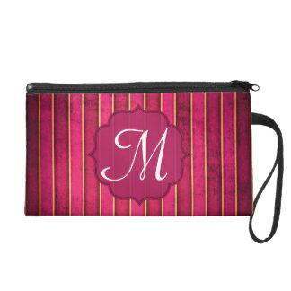 Raspberry Gold Stripe Moder Make Up Bag Tote Purse Wristlet Clutch