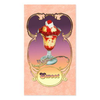 Raspberry Ice Cream Sundae Business Card