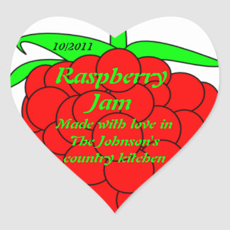 Raspberry Jam Jar Label (Customize) Heart Sticker
