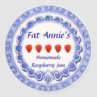 Raspberry Jam Label Classic Round Sticker