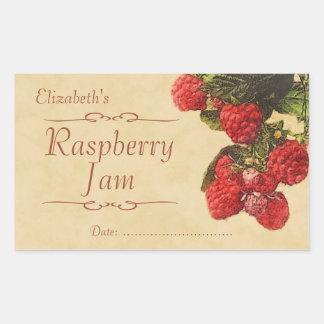 Raspberry jam or canning rectangular stickers