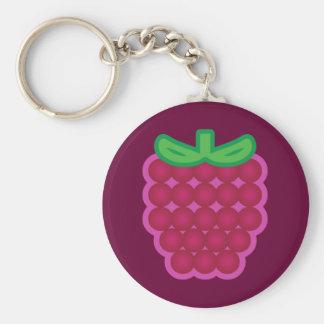 Raspberry Basic Round Button Keychain
