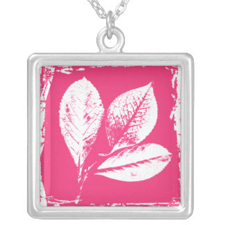 Raspberry Leaves Woodcut in Pink and White Silver Plated Necklace