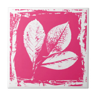 Raspberry Leaves Woodcut in Pink and White Tiles