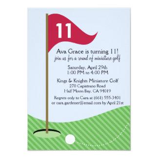 Raspberry Let's Par-Tee Mini Golf Birthday Party 4.5x6.25 Paper Invitation Card