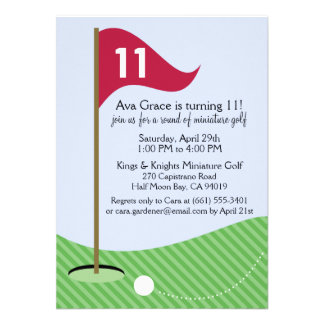 Raspberry Let's Par-Tee Mini Golf Birthday Party Personalized Announcement