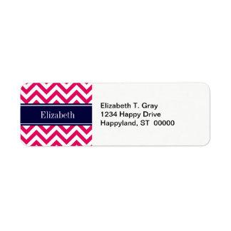 Raspberry Lg Chevron Navy Blue Name Monogram Label