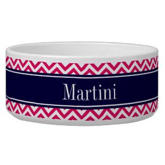 Raspberry Lg Chevron Navy Blue Name Monogram Pet Bowl