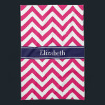 "Raspberry Lg Chevron Navy Blue Name Monogram Towel<br><div class=""desc"">Raspberry and White Large Chevron Zig Zag Pattern, Navy Blue Ribbon Name Monogram Customize this with your name, monogram or other text. You can also change fonts, adjust font sizes and font colors, move the text, add text fields, etc. Please note that this is a digitally created graphic design that&#39;s...</div>"
