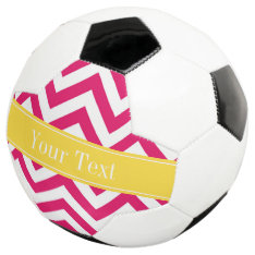 Raspberry Lg Chevron Pineapple Name Monogram Soccer Ball at Zazzle