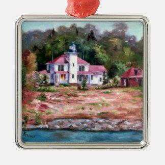 Raspberry Lighthouse Metal Ornament