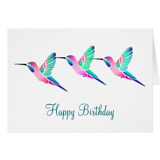 Raspberry Mint Sorbet Hummingbirds Greeting Card