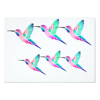 Raspberry Mint Sorbet Hummingbirds Personalized Invites