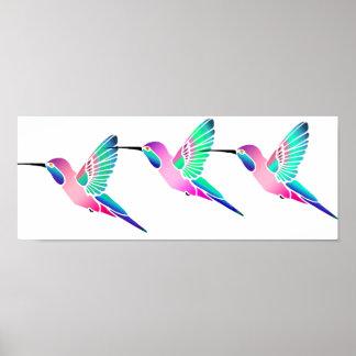 Raspberry Mint Sorbet Hummingbirds Print