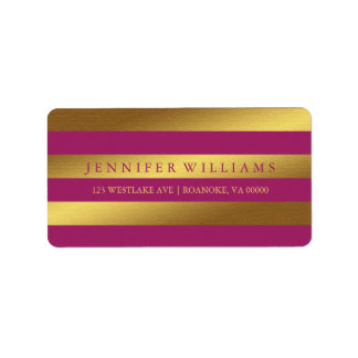 Raspberry Modern Faux Gold Foil Stripes Label