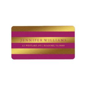 Raspberry Modern Faux Gold Foil Stripes Labels