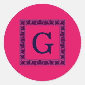 Raspberry, Navy Blue Greek Key #1 Framed Monogram Classic Round Sticker