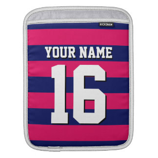 Raspberry Navy Blue Sports Jersey Preppy Stripe Sleeve For iPads