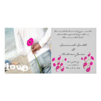Raspberry Paisley & Gerbers on Grey Save The Date Card