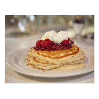 Raspberry pancakes postcard