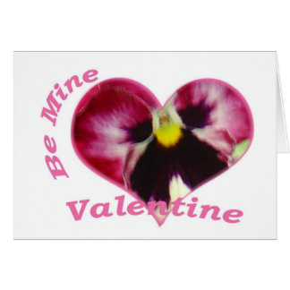 Raspberry Pansy in Heart, Be Mine Valentine Card