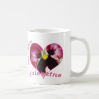 Raspberry Pansy in Heart, Be Mine Valentine, mug