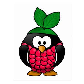 Raspberry Penguin Toony Drawing Postcard