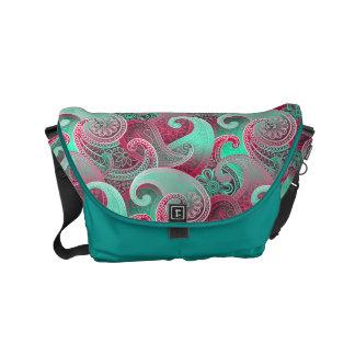 Raspberry Pink and Aqua Paisley Pattern Small Messenger Bag