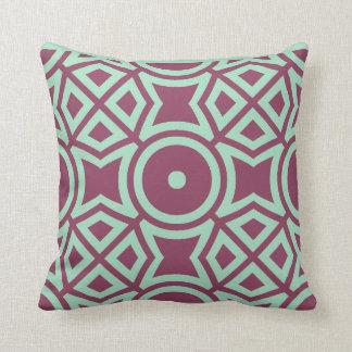 Raspberry pink and aquamarine throw pillows