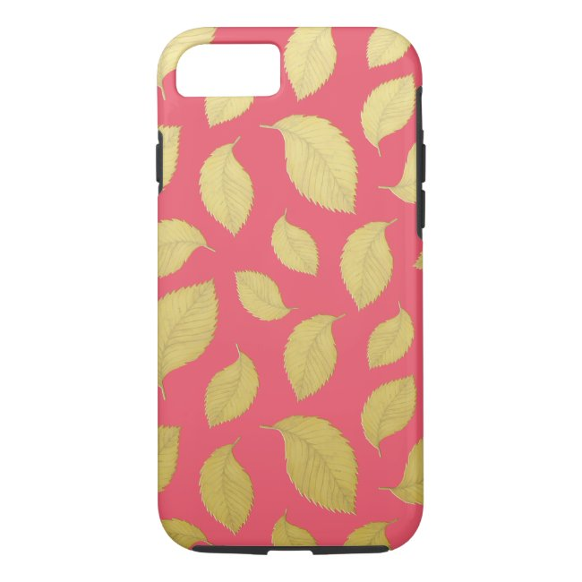 Raspberry Pink and Gold Autumn Leaves Phone Case
