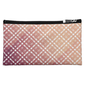 Raspberry Pink Blush Modern Plaid Netted Ombra Cosmetic Bag