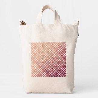 Raspberry Pink Blush Modern Plaid Netted Ombra Duck Bag