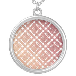Raspberry Pink Blush Modern Plaid Netted Ombra Silver Plated Necklace
