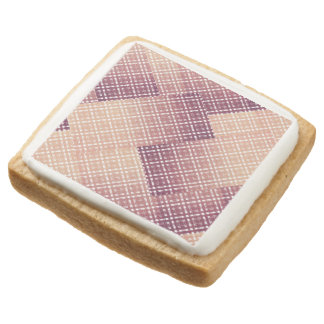 Raspberry Pink Blush Modern Plaid Netted Ombra Square Shortbread Cookie