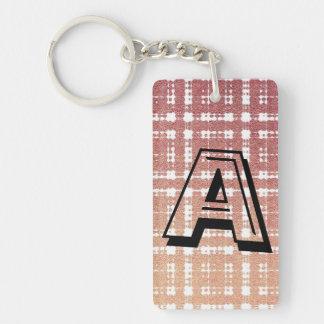Raspberry Pink Blush Monogram Modern Plaid Ombra Keychain