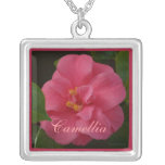 Raspberry Pink Camellia Personalized Necklace